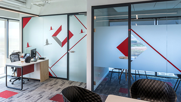 Big Wide Frosted Decals Office Design 9